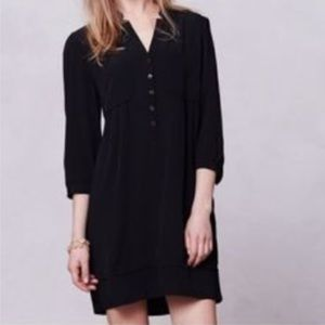 Anthropologie Maeve black split neck shift dress